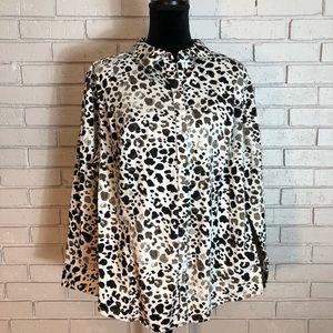 Lane Bryant Cheetah Print White &Black Button Down